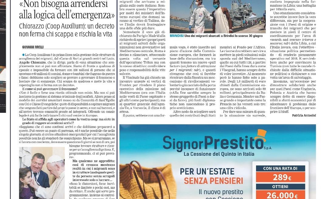 """Angelo Chiorazzo: """"Non bisogna arrendersi alla logica dell'emergenza"""""""