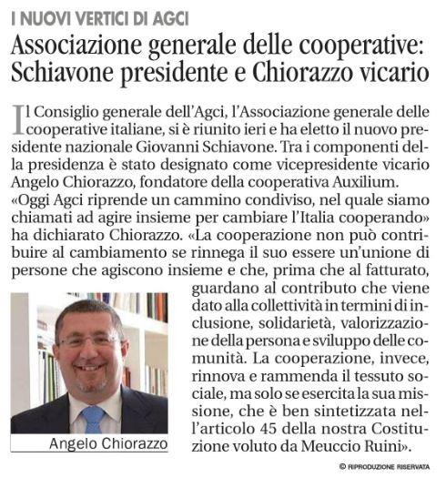 Avvenire, Angelo Chiorazzo eletto vicario in AGCI