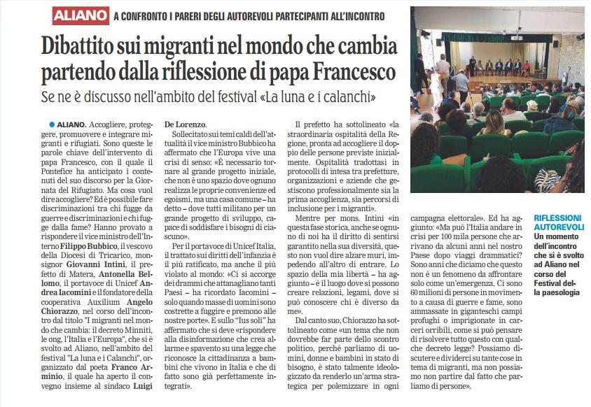 """La Luna e i Calanchi, ad Aliano si è discusso de """"I migranti nel mondo che cambia"""""""