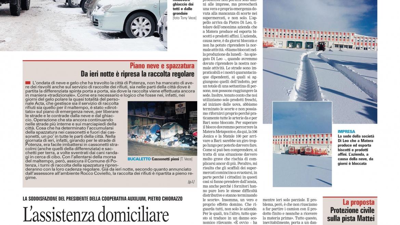 La neve non ha fermato l'Assistenza domiciliare integrata in Basilicata