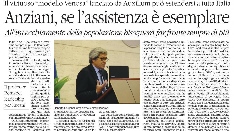 """Il virtuoso """"modello Venosa"""" lanciato da Auxilium può estendersi a tutta Italia"""