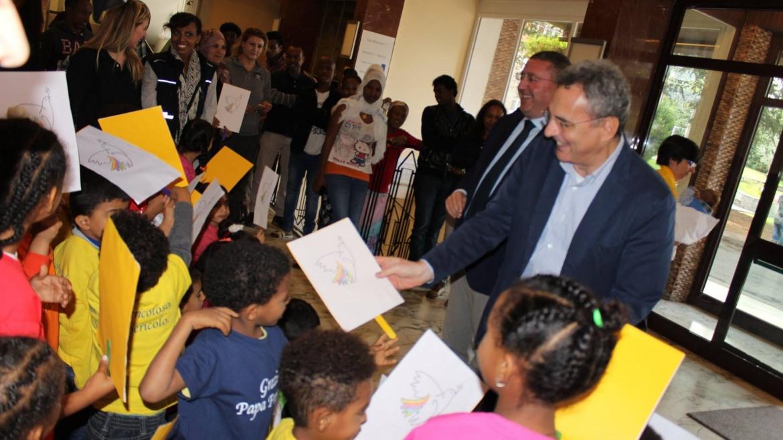 Il presidente della Comunità di Sant'Egidio, Marco Impagliazzo in visita a Mondo Migliore