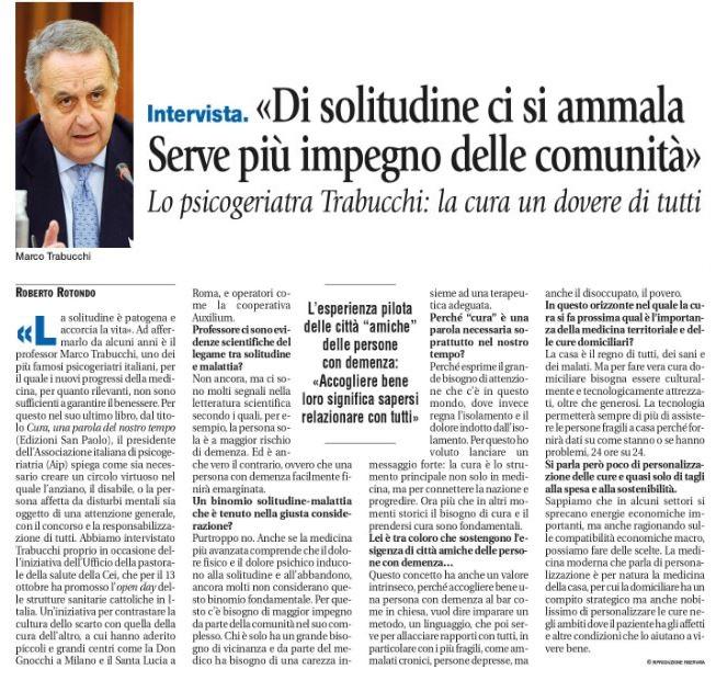 Avvenire, l'intervista allo psicogeriatra Marco Trabucchi