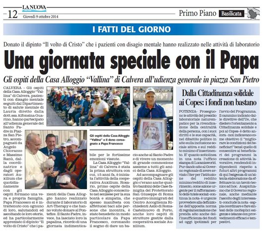 """Gli ospiti della Casa Alloggio """"Vallina"""" di Calvera incontrano Papa Francesco"""