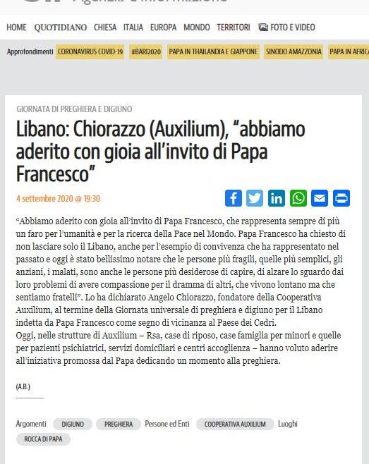 """Sir – Chiorazzo: """"Abbiamo aderito con gioia all'invito di Papa Francesco"""""""
